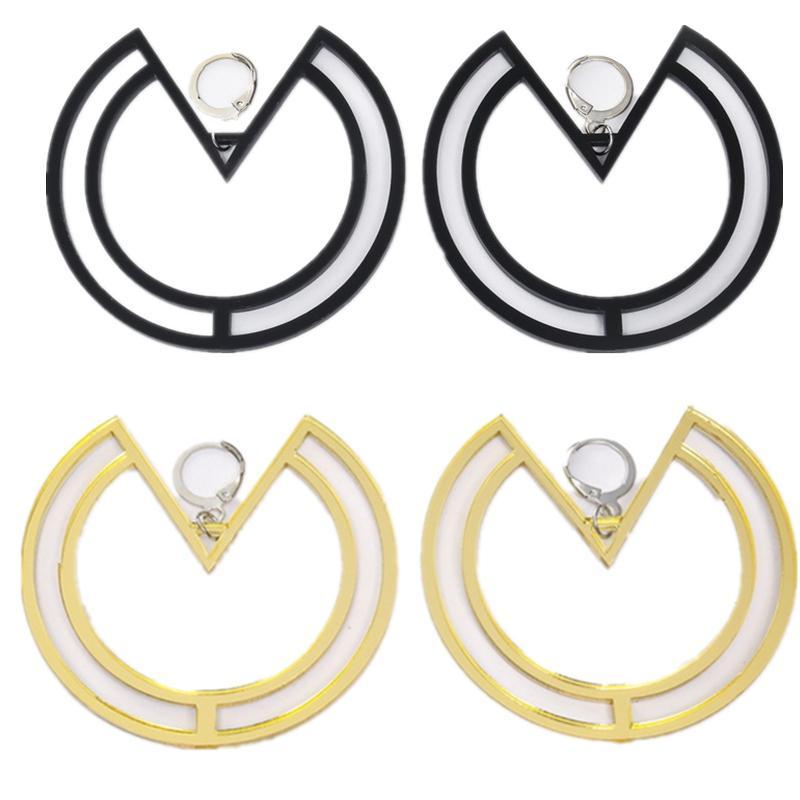 New Fashion Simple Acrylic Round Ring Pendant Long Earrings for Women Hyperbole Geometric Creative Punk Big Earrings Pendientes