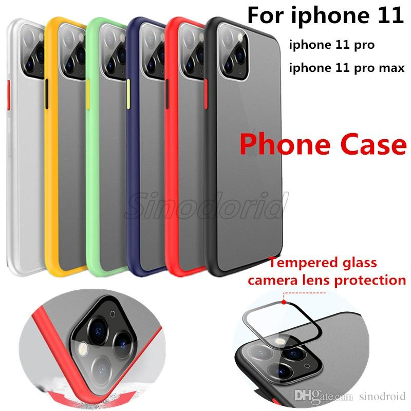 Per iPhone 11 Pro glassato della copertura di colore casse del telefono opaco Protector per la copertura di iphone 11 Telefono
