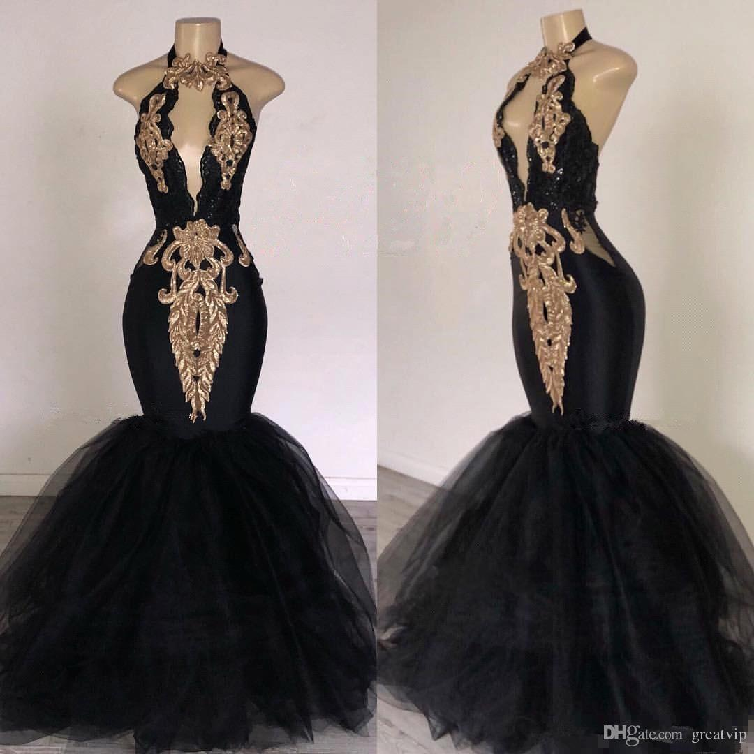 2019 africano sereia vestidos de baile apliques de ouro halter buraco da fechadura no pescoço vestido de noite plus size black girls party dress personalizado