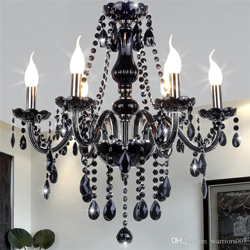غرفة نوم حديثة الأسود كريستال الثريا الضوء على غرفة المعيشة في الأماكن المغلقة مصباح كريستال اللمعان دي TETO بقيادة سقف الثريا تركيبات
