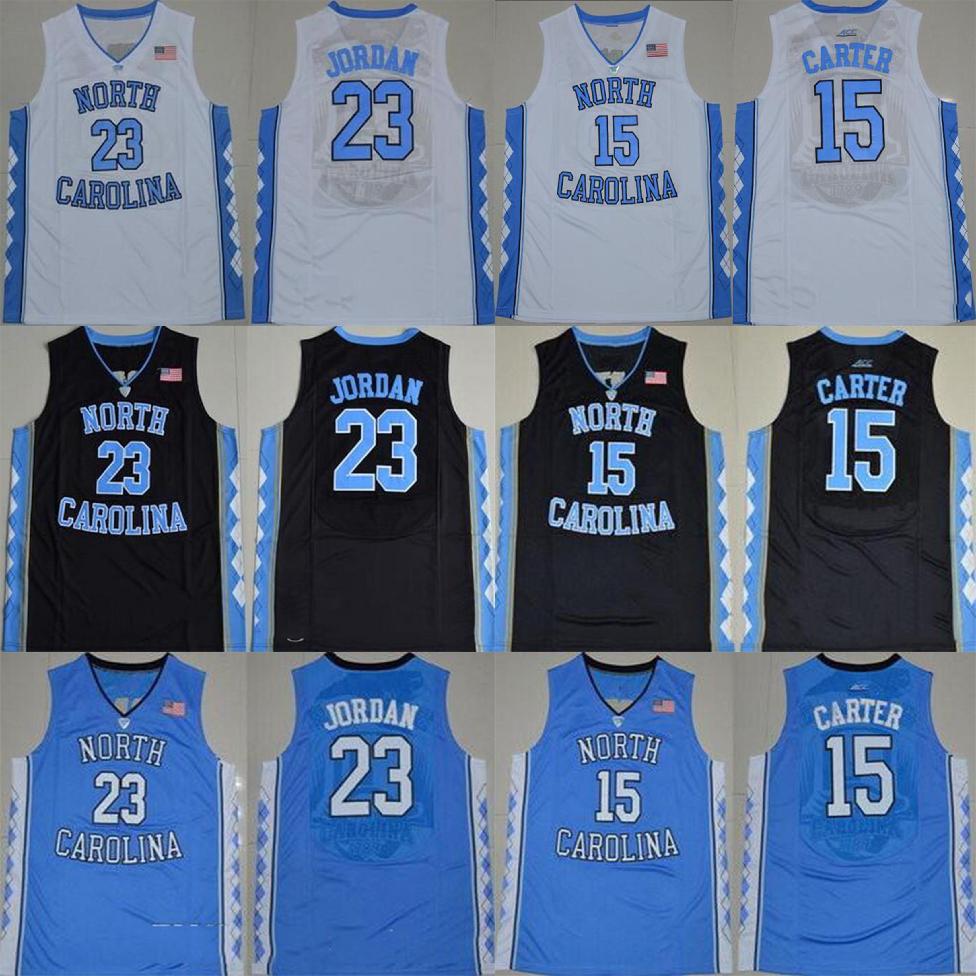 الكعوب NCAA نورث كارولينا قطران 15 كارتر 23 مايكل كلية أزرق أبيض رخيصة الأسود لكرة السلة الفانيلة مخيط شعارات قمصان جيرسي