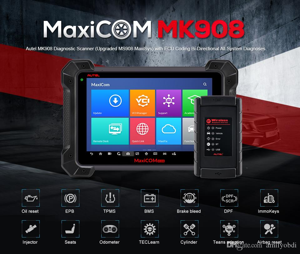 Autel MaxiCOM MK908 as Autel MS908 OBDII Diagnostic Tool Auto OBD2 Scanner ECU Coding Automotive Tools Full System Code Scanner