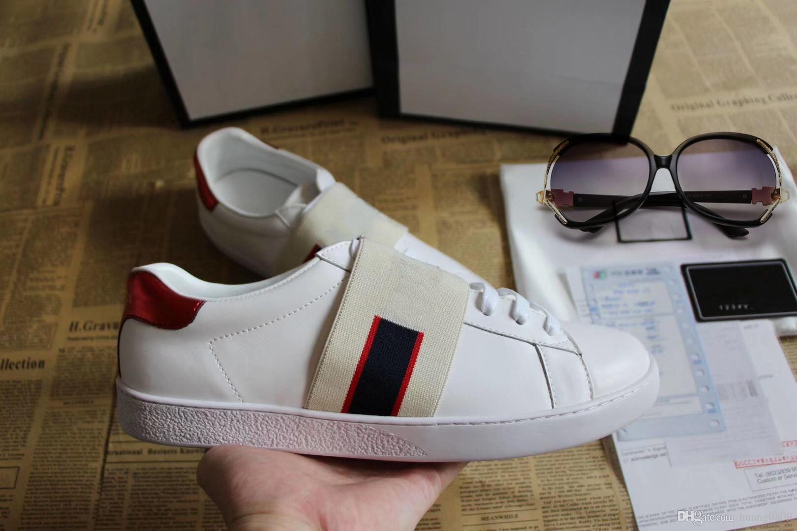 Yeni Tasarımcı ayakkabı ACE Lüks işlemeli beyaz kaplan arı yılan ayakkabı Hakiki Deri Tasarımcısı Sneaker Erkek Kadın Rahat Ayakkabılar boyutu 35-48