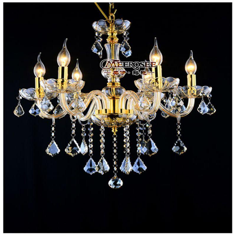 Lustre en cristal moderne Luminaire noir champagne en cristal Lampe suspendue Bougie en verre Pendant Light Lustre Salon MDS01 Chambre