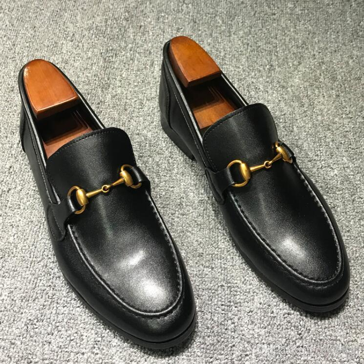 2019 Fashion Man Designer black loafers Slim shape real leather mens and women driving loafers princetown Horsebit top quality original box