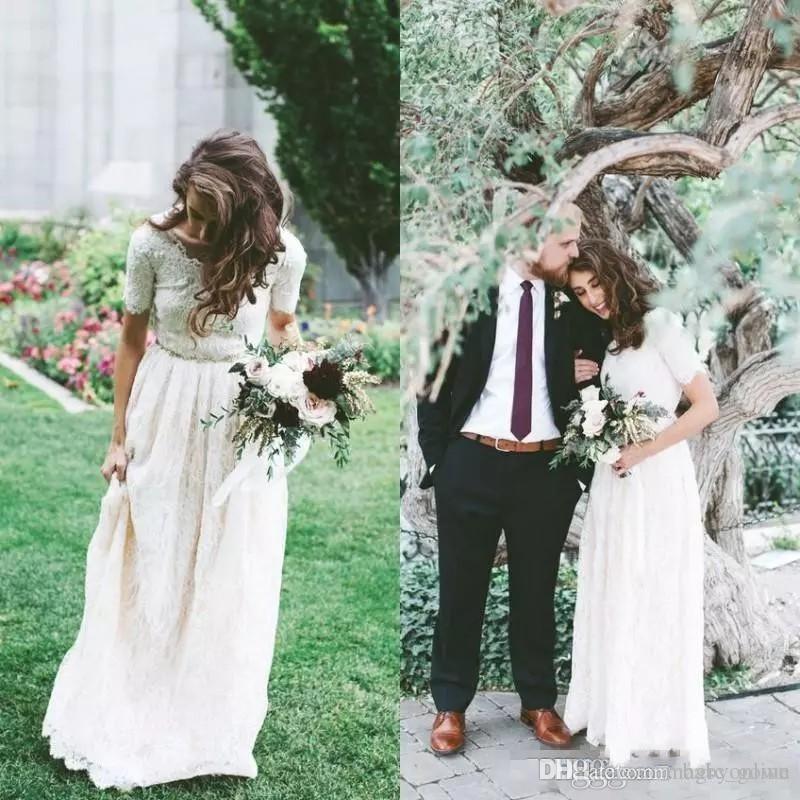 Estilo country boêmio vestido de noiva de renda completa a linha mangas curtas cristais grânulos caixilhos até o chão praia vestidos de noiva custom made