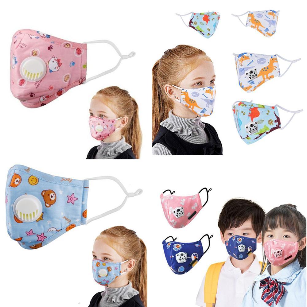 heiß auf Lager Kinder Masken Baumwollqualität Kinder Cartoon-Gesichtsmasken mit Entlüfterventil PM2.5 Staubdichtes Schutzmaske Gesicht