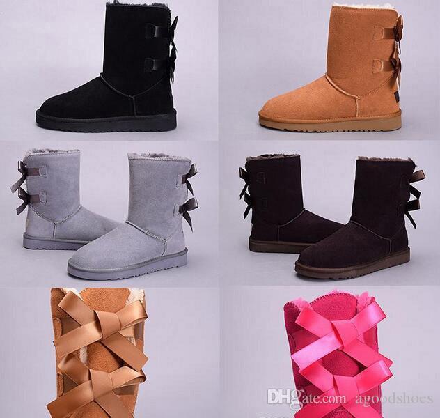 3280 стиль мода Боути снегоступы Австралия классические высокие зимние сапоги натуральной кожи бантом женские зимние сапоги ботинки Xmas подарок