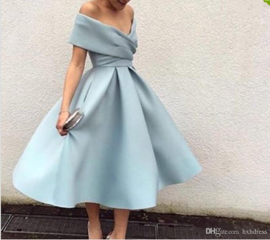 2020 밝은 파란 댄스 파티 드레스 어깨 차 길이 짧은 파티 댄스 파티 드레스 고품질 홈 커밍 드레스 공식적인 드레스
