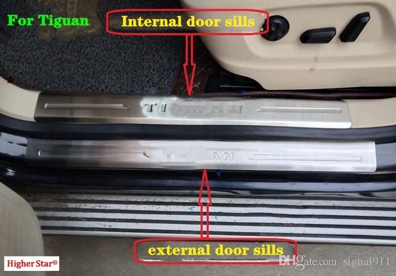 stainless steel 8pcs(4external+4 internal)door sills scuff footplate,guard plates,protection bar with logo for Volkswagen Tiguan 2009-2015