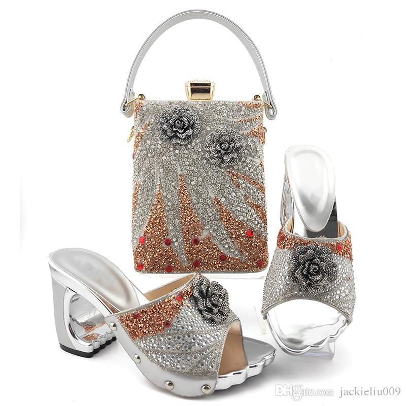 Bombas mulheres prata de alta qualidade com cristal decoração flor estilo sapatos africano correspondem conjunto MD013 bolsa, 9CM calcanhar