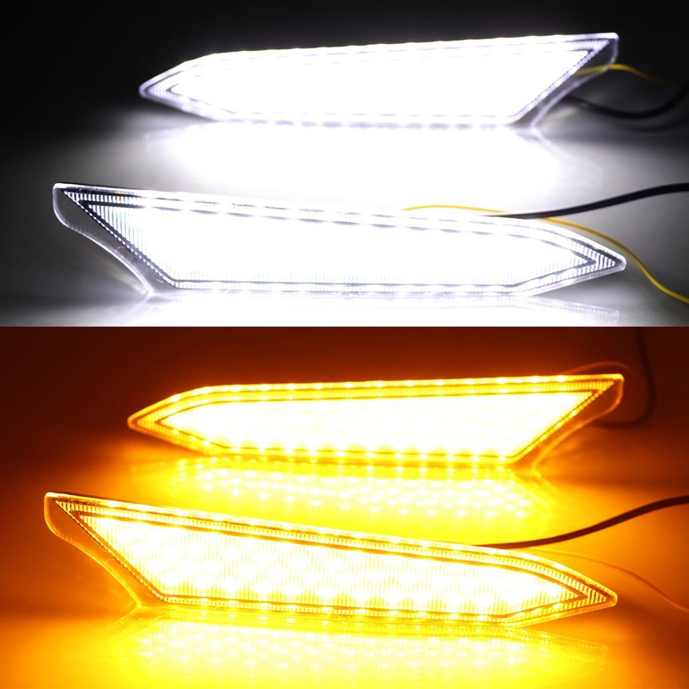 Sarı Dönüş Sinyali Stil Relay ile Işık İçin Toyota Rush 2018 2019 Running 2 adet LED DRL Gündüz Su geçirmez Sis lambası ABS