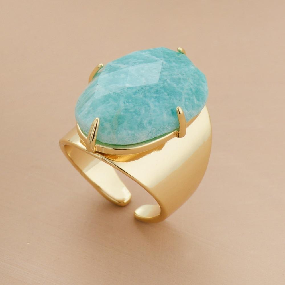 Big Stone Anneaux de haute qualité Bijoux Nouveau Couleur Or Mode Amazonite Luxe Party Taille 7 Anneau V191128