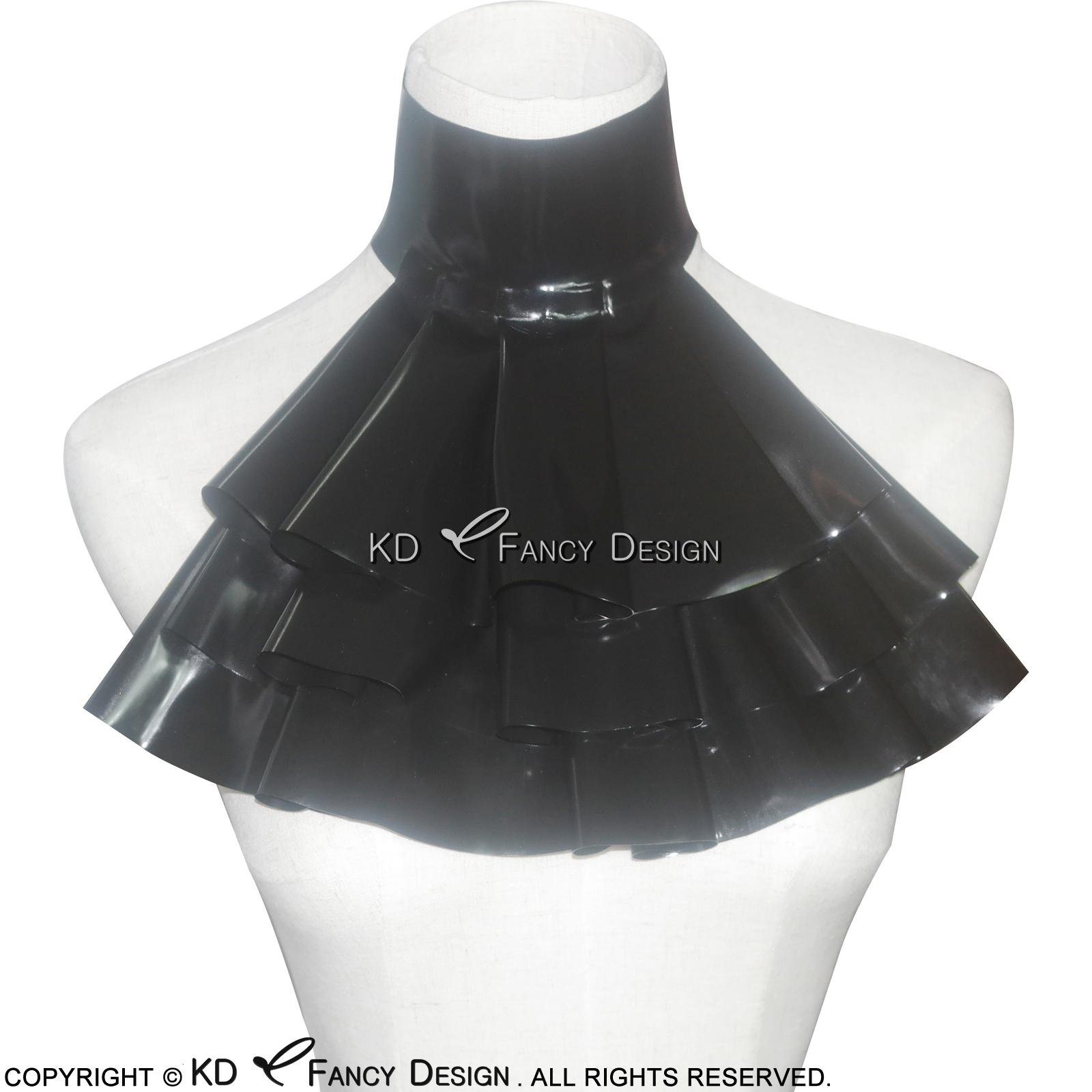 Collar Preto Sexy Latex Jabot com babados Borracha Para Cosplay JC-0001