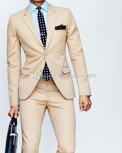 Новая мода бежевый вырез отворотом жених смокинги,красивый Slim Fit мужчины свадебные женихи бизнес партия выпускного вечера костюмы (куртка+брюки+галстук) нет:546