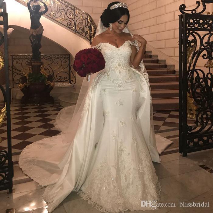 Elegante Perlen Spitze Brautkleider mit abnehmbarer Zug aus Schulter Mermaid Brautkleider Applique Elfenbein Satin Hochzeitskleid
