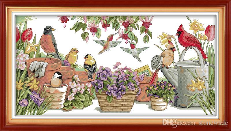 Aves se reúnem no jardim Desenho pinturas decorativas, Handmade Cross Stitch Bordado Conjuntos de costura contados impressão sobre tela DMC 14CT / 11CT