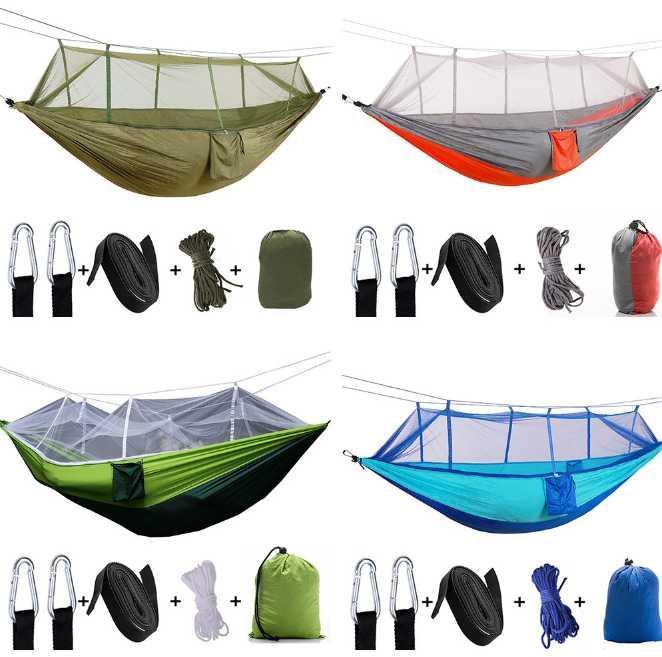 Tampon Taşınabilir Kamp Yatak Katlama Pad Sleeping Cibinlik Ultralight Naylon 2-5 İnsanlar Kamp Hava Çadırı ile Açık Hamak