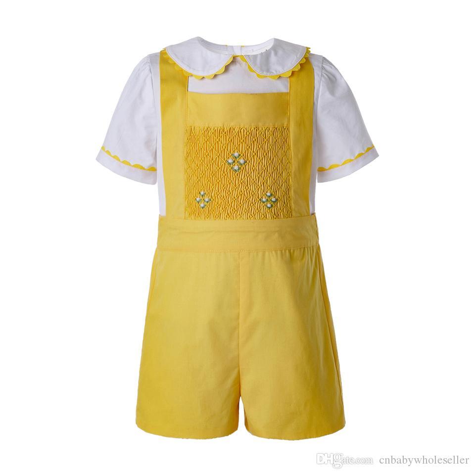 Pettigirl Gelb Baby-Sommer-Kleidung für Kinder Designerkleidung für Junge Sets mit weißer T-Shirt und gelben beiläufigen Kurzschlüsse B-DMCS201-B490