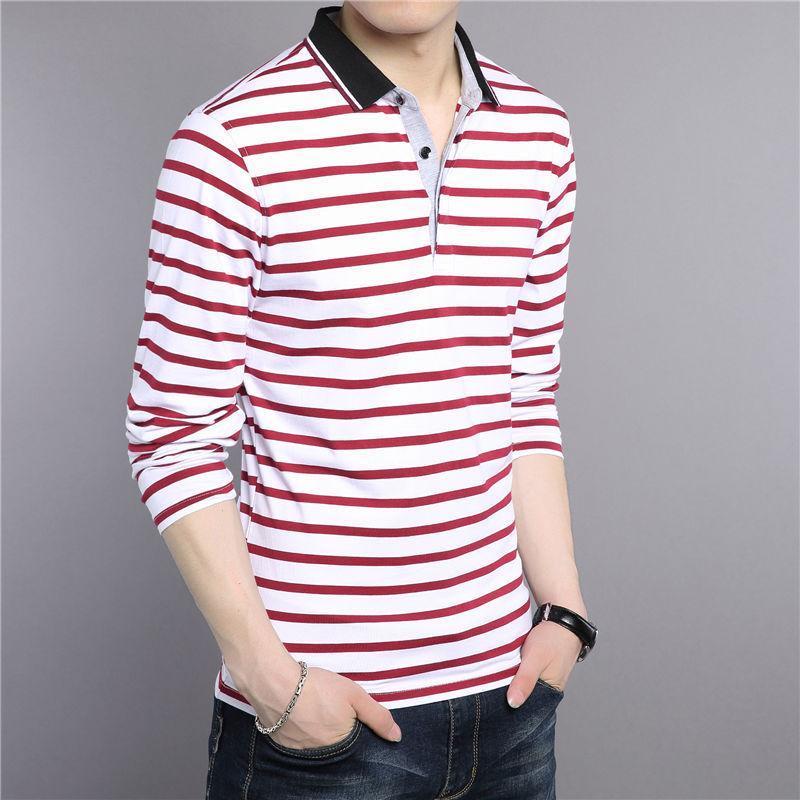 Normal T -Shirt Men New Spring Summer Pure Cotton Turn -Down Collar T Shirt Men Casual Striped Long Sleeve Tshirt Tops Striped Elegant