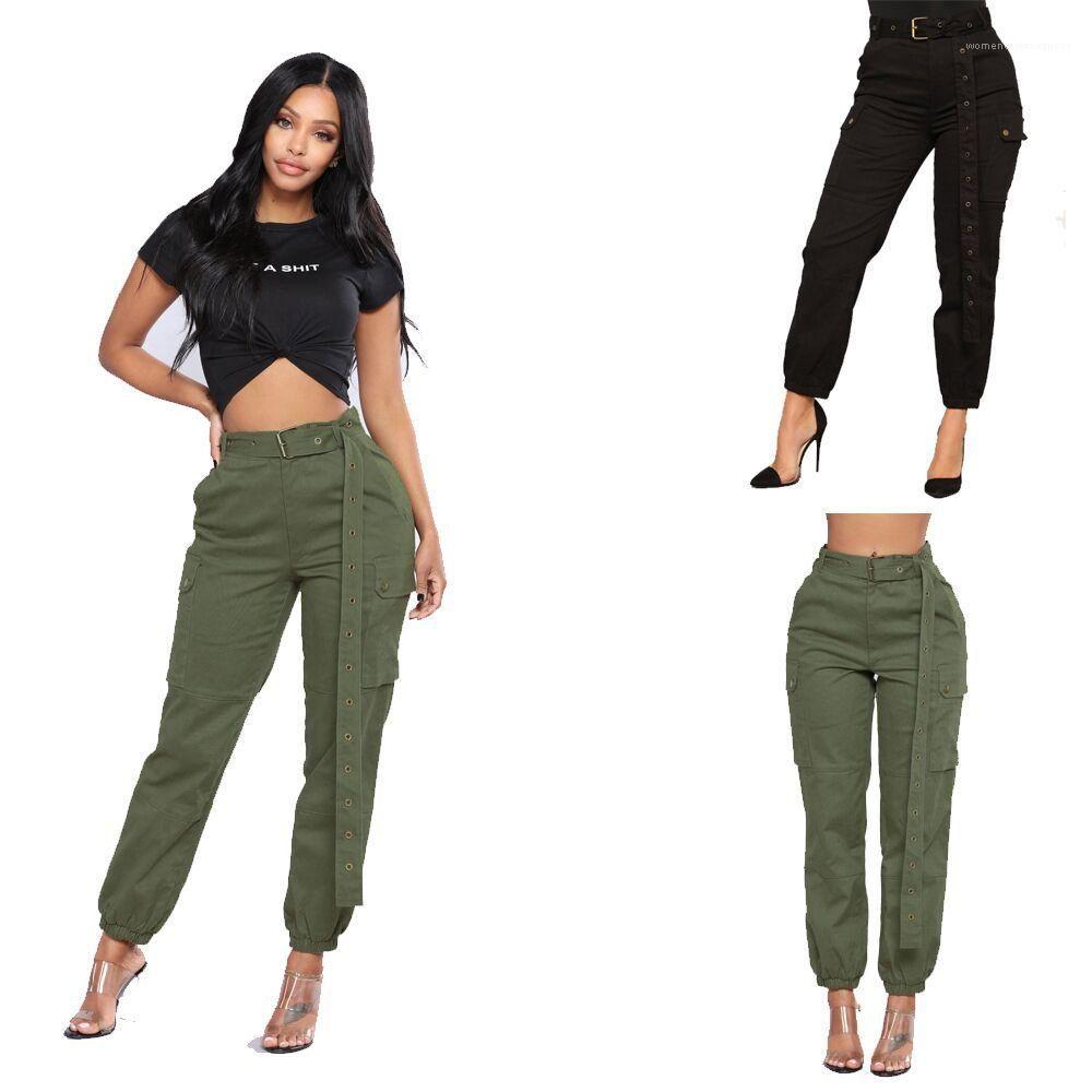 Designer Harem solido di tasca di colore stile di Hip Hop Abbigliamento Donna Fashion Casual Moda Donna Apprel
