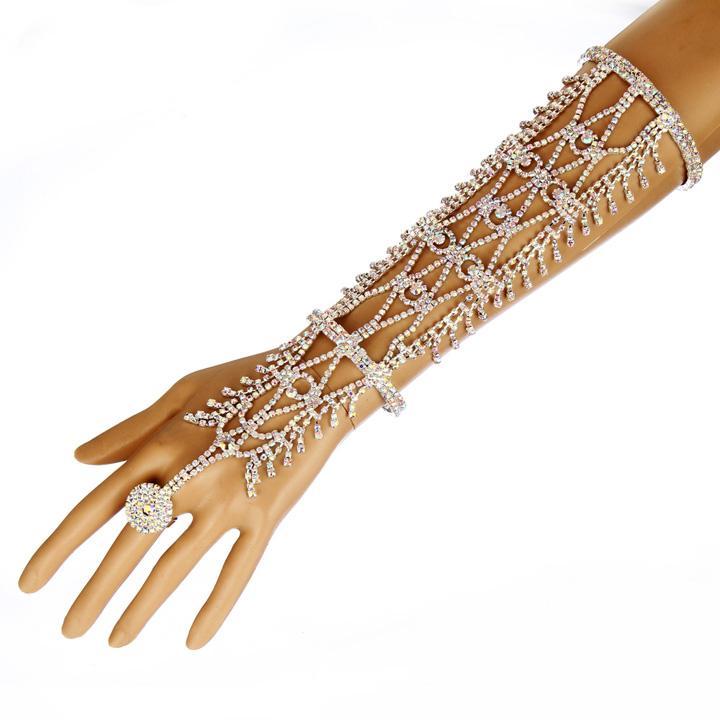 Women Rhinestone Slave Bracelet With Ring Hand Chain Cuff Wedding Bridal Celebrity Trendy Belly Dancer Jewelry