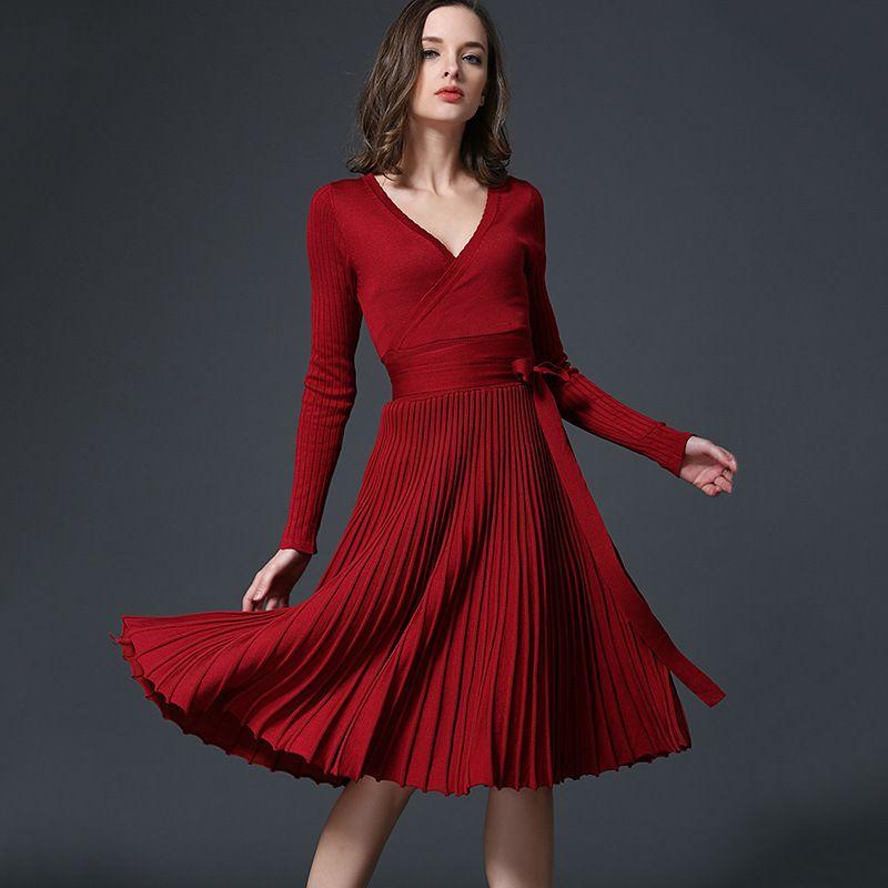 Европа весна и осень культивирование с длинными рукавами V-образным вырезом сексуальное плиссированное трикотажное платье женское платье заводские розетки