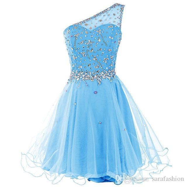 Une épaule Homecoming Robe avec perles Crystal 2019 Tulle Tulle genou Longueur Durée Dresses Nouvelle robe courte de bal courte