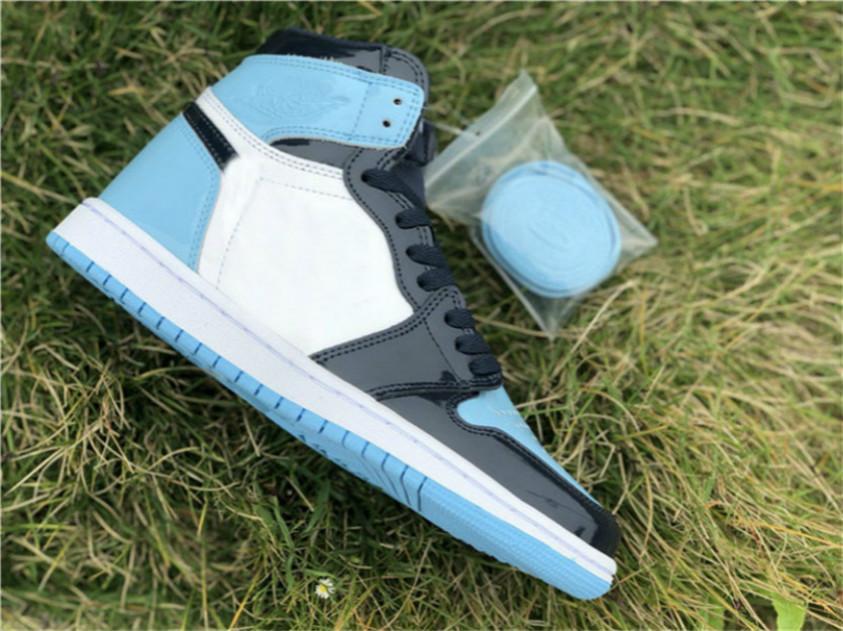 2019 Nouveau Authentique 1 High OG UNC brevet ASG WMNS 1S Obsidian Blue Chill-Blanc Chaussures de basket Chaussures Homme Femme 3bv2