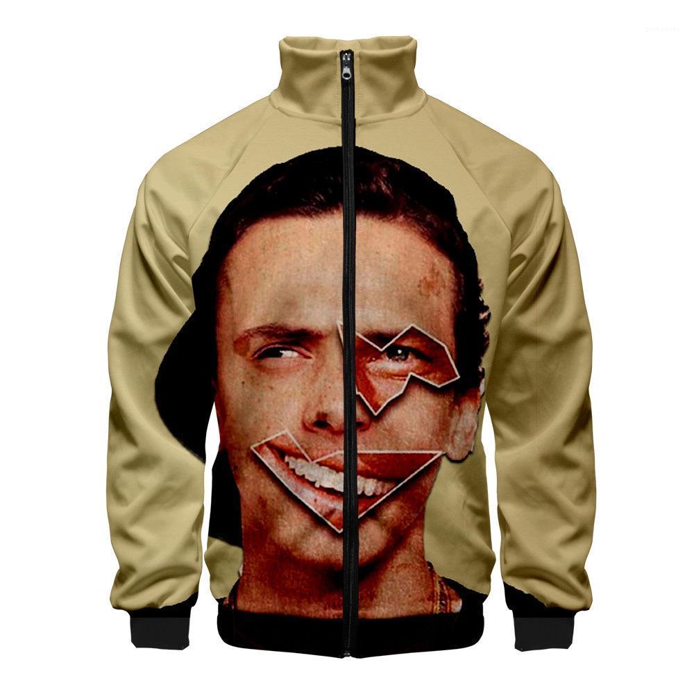 Manica lunga Homme cappotti Moda Zipper Fly Maschio Abbigliamento Uomo 3D digitale Stampato Jacket Logic autunno collare del basamento