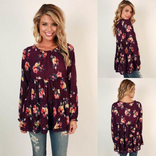 2017 Женщины блузка цветочный принт топы повседневные свободные Высокая Талия пуловер O-образным вырезом с длинным рукавом Осень Зима шифон рубашки