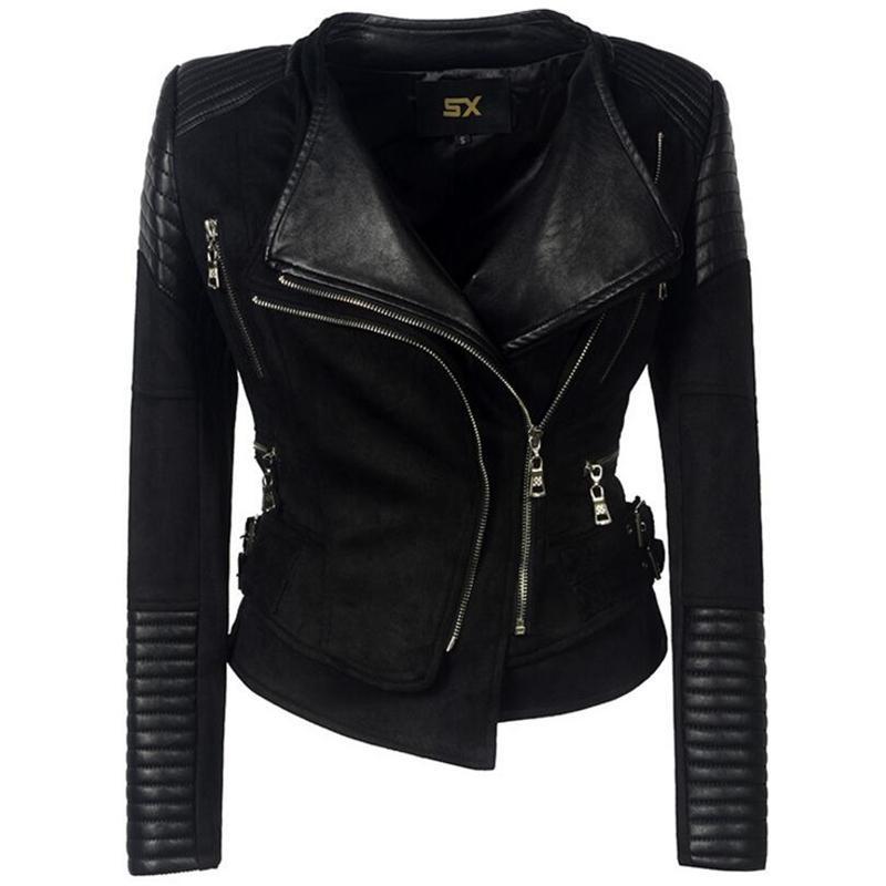 American Style lapela jaqueta de couro com zíper Mulheres Deerskin PU costura Europeia Jackets Coats Punk Streetwear roupas das senhoras