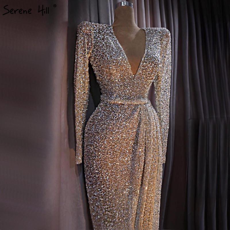 Dubai Lüks Altın Uzun Kollu Son Akşam elbise Tasarımları 2019 Boncuk Payetli Akşam elbise Gerçek Fotoğraf LA60769