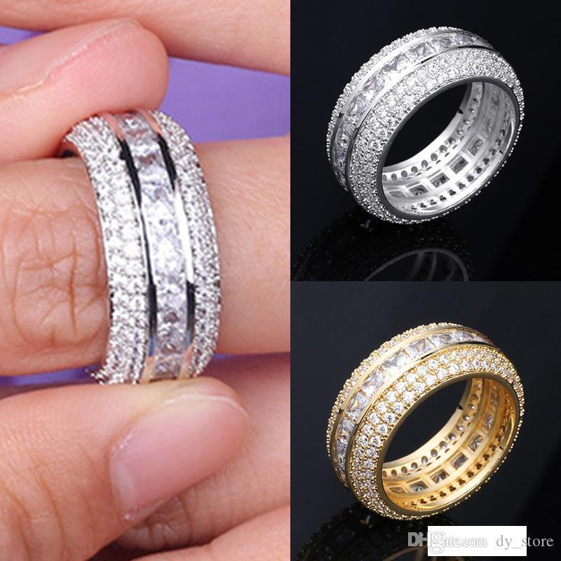 Oro 18K nuovo modo Blingbling oro bianco CZ zirconi Full Set di barretta di banda di lusso Hip Hop Jewelry Diamond Ring per donne degli uomini