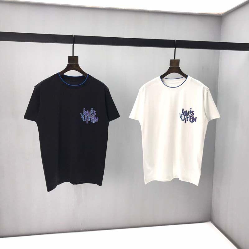 T-shirt collare di pannello rotonda manica corta stampa 2020 primavera e nuova qualità piena estate del cotone Formato: m-L-XL-XXL-XXXL Colore: bianco nero qq8