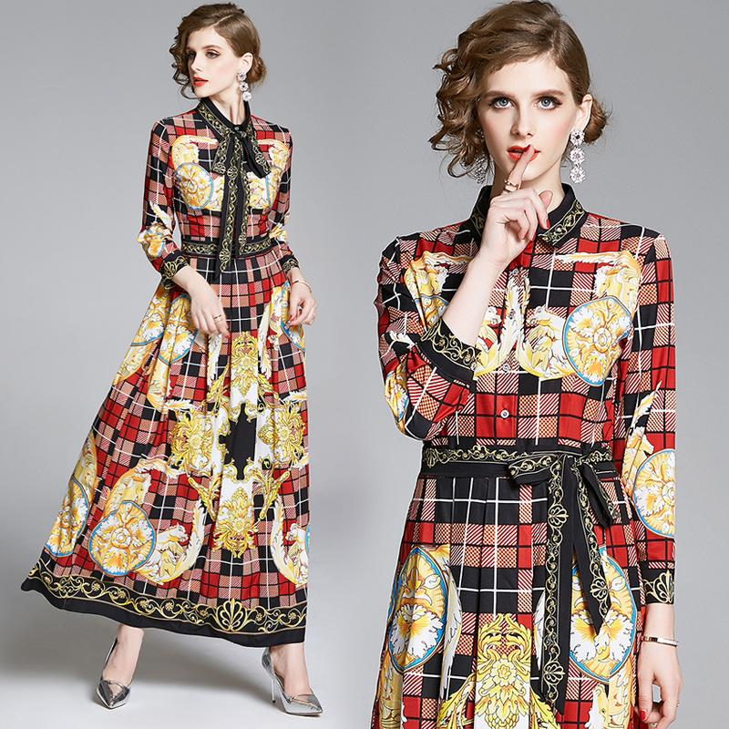2020 piste luxe Vintage Print plissés Shirt Maxi Robe Femmes Mesdames Lapel élégant ruban Bow Tie Casual Party Designer Robes de soirée