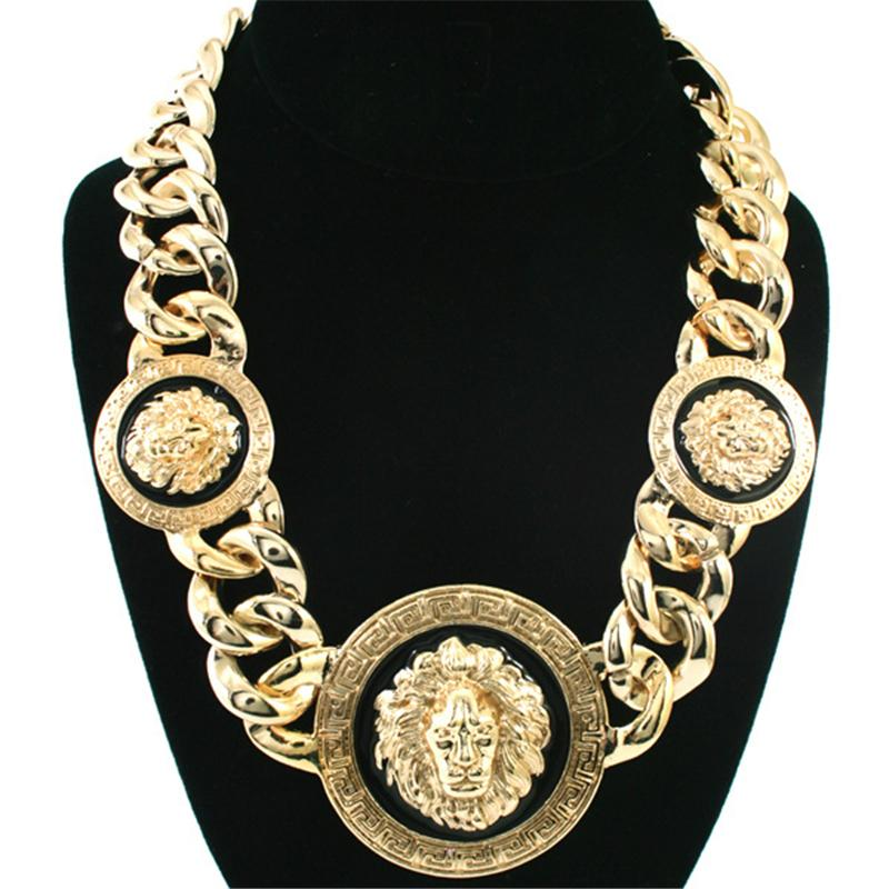 Designer Hip Hop Necklace Lion Head Round Pendant Necklaces for Men Women Gold Silver Chunky Chain Luxury Statement Necklace Jewelry Gifts