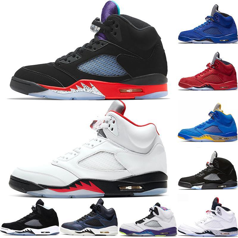 jumpman 5 Homens tênis de basquete 5s Trainers Fire Red para 2020 Alternate Bel Red Blue suede Oil Grey Mens Sports Sneaker Size 40-47
