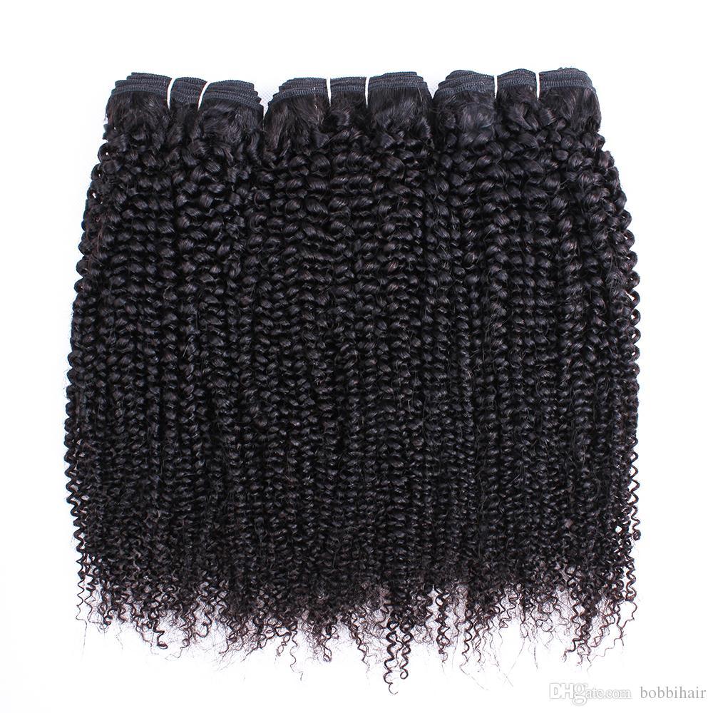 Afro Kinky cabelo encaracolado Pacotes peruana índio brasileiro virgem do cabelo 3 ou 4 Pacotes 10-28 Extensões de cabelo humano Remy Inch