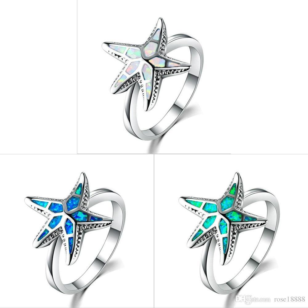 Anelli della stella marina della lega della moda femminile di 3 colori Anelli il regalo dei monili dell'anello di scintillio della cavità per la dimensione 5 ~ 12 della ragazza