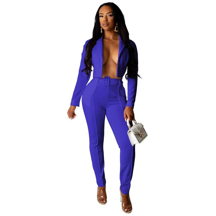 Womens Solid Color Blazers Sets Patchwork Slim Fashion Ladies Suits Sets Lapel Neck Women Blazers Tops Female Pants Suits
