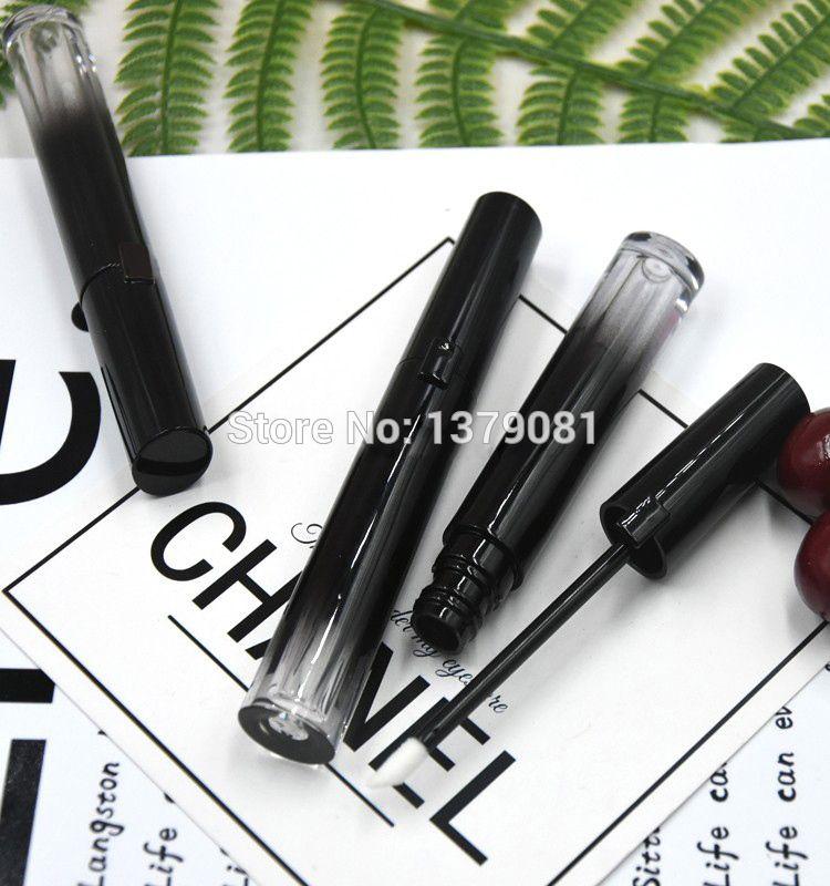 10/30 / 50pcs High Grade 5ml Nero Gradient rotonda Lip Gloss Tube, Vuoto fai da te elegante Lip Gloze contenitore, contenitore cosmetico