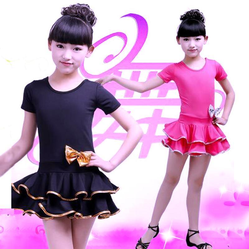 vestido de dança latina crianças Ballroom do desgaste da dança Bow Salsa Tango traje Rumba Samba criança crianças profissional para as meninas flamengo