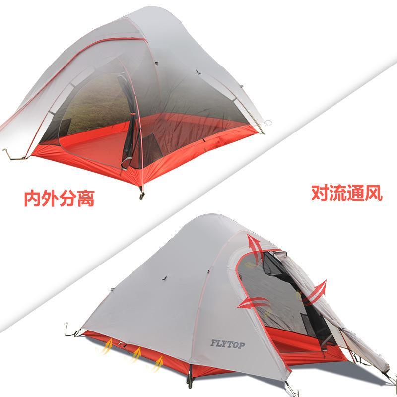 Flytop 1person nylon revestido de pólo duplo de alumínio, de convés para campo tenda de campismo com ultra-leve tenda de silicone montanha