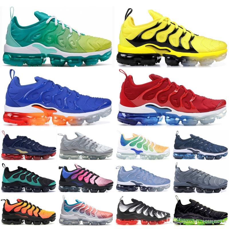 2019 TN Plus New Bumblebee Mens Women Running Shoes Lemon Lime Black White Game Royal Racer Blue Trainers Sports Sneakers 5-11