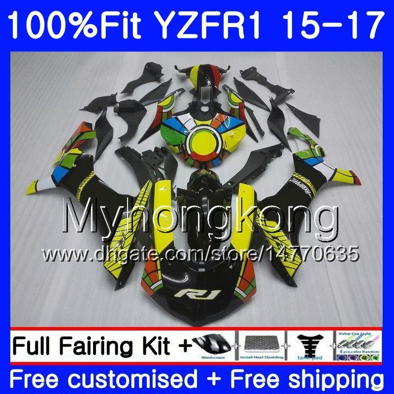 사출 성형기 YAMAHA YZF R1 1000 YZF-R1 15 16 17 243HM.2 YZF-1000 YZF R 1 YZF1000 YZFR1 새로운 무지개색 스톡 2015 2016 2017 페어링 키트