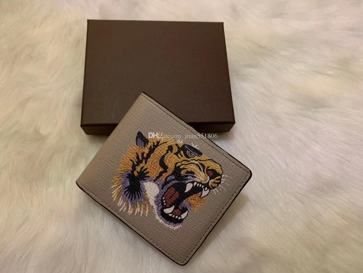6 colori uomini animale Breve Portafoglio in pelle di serpente nero Tiger ape portafogli da donna lungo di stile borsa titolari di carte di portafoglio con confezione regalo