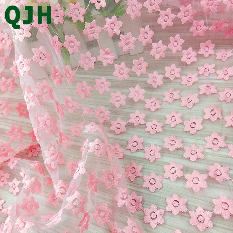 New Design 120cm Width Pink African Lace Fabric Milk Silk Organza Lace Flowers Embroidery DIY Cloth For Wedding Dress Material