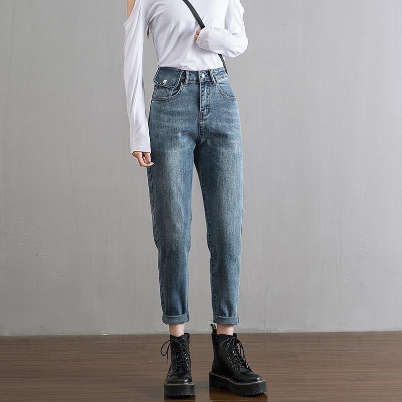jeans maman boyfriend droits de jeans taille haute rétro femme loisir noir bleu 2020 NOUVEAU taille plus