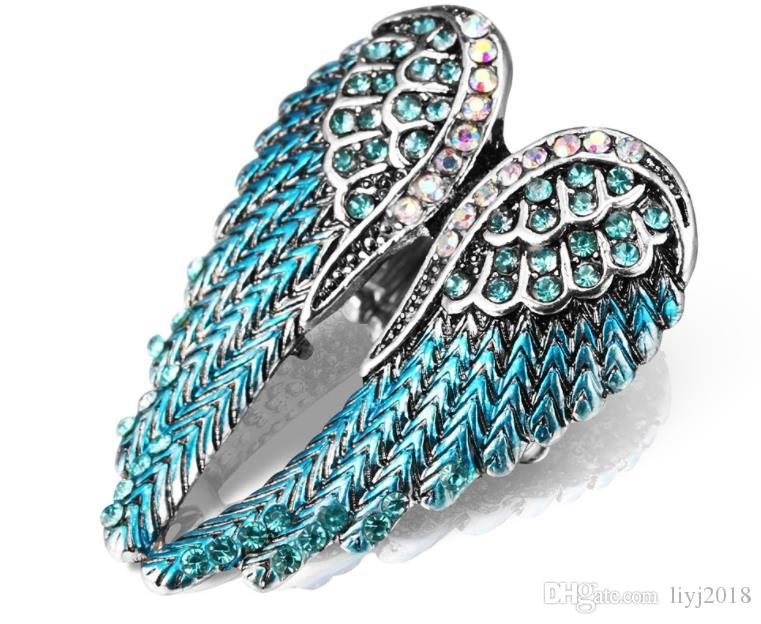 Diamond-encrusted three-dimensional angel wings ring elastic adjustable ladies ring live-mouth retro